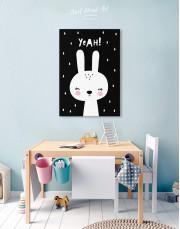Yeah! Bunny Nursery Animal Canvas Wall Art