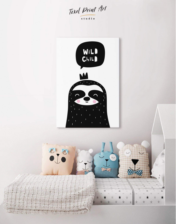 Wild Child Sloth Nursery Animal Canvas Wall Art - Image 4