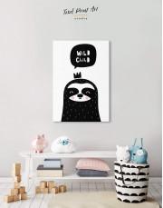 Wild Child Sloth Nursery Animal Canvas Wall Art