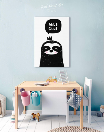 Wild Child Sloth Nursery Animal Canvas Wall Art - image 5