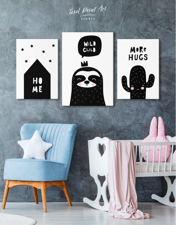 Wild Child Sloth Nursery Animal Canvas Wall Art - Image 3