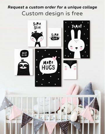 Super Cute Monochrome Nursery Canvas Wall Art - image 2