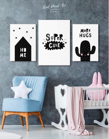 Super Cute Monochrome Nursery Canvas Wall Art - image 3
