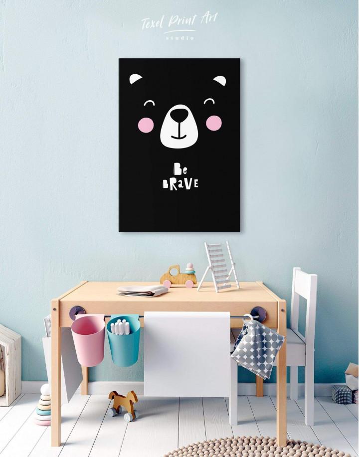Be Brave Bear Nursery Animal Canvas Wall Art - Image 2