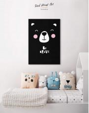 Be Brave Bear Nursery Animal Canvas Wall Art - Image 3