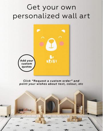 Be Brave Bear Nursery Animal Canvas Wall Art - image 6