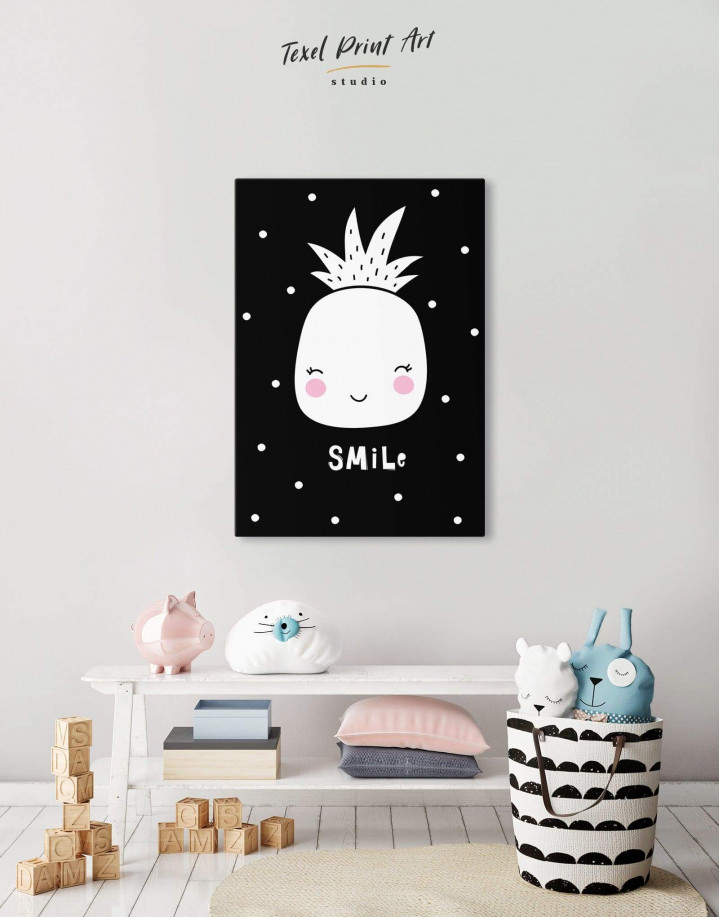 Smile Pineapple Nursery Canvas Wall Art - Image 0