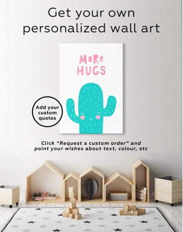 More Hugs Cactus Nursery Canvas Wall Art - image 1