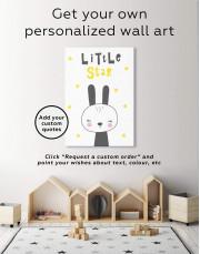 Little Star Bunny Nursery Animal Canvas Wall Art - Image 1