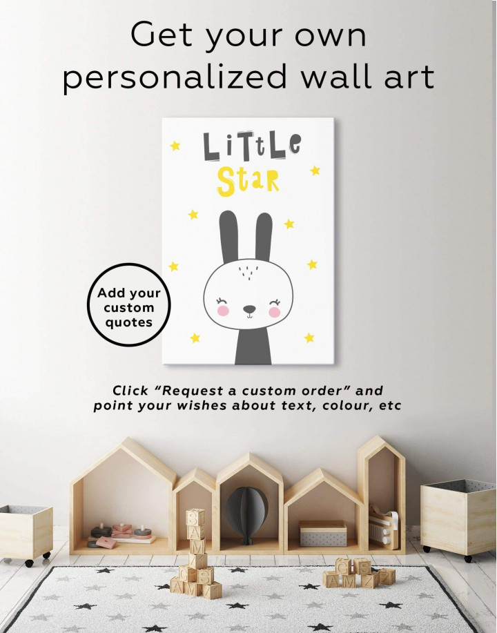 Little Star Bunny Nursery Animal Canvas Wall Art - Image 1