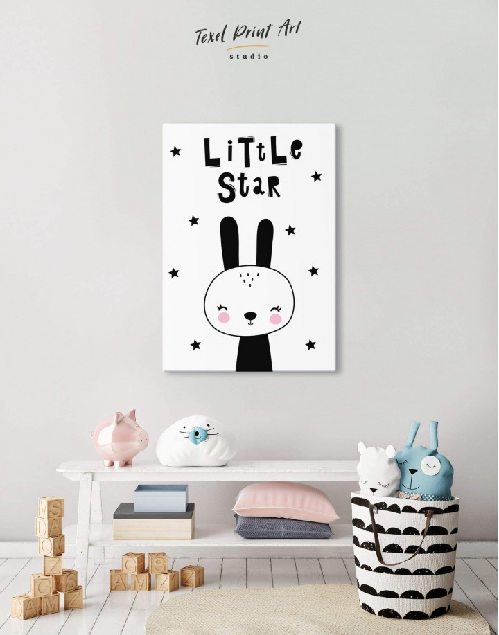 Little Star Bunny Nursery Animal Canvas Wall Art - Image 0