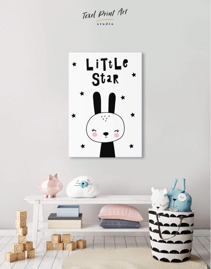 Little Star Bunny Nursery Animal Canvas Wall Art