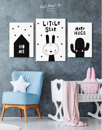 Little Star Bunny Nursery Animal Canvas Wall Art - image 3
