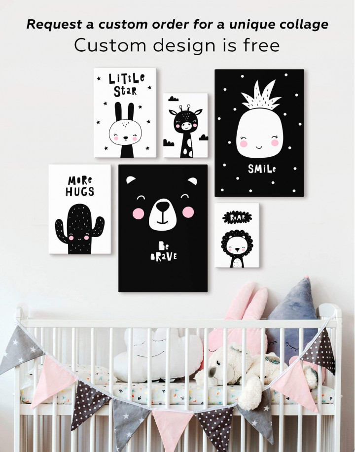 Little Star Bunny Nursery Animal Canvas Wall Art - Image 2