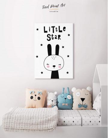 Little Star Bunny Nursery Animal Canvas Wall Art - image 4