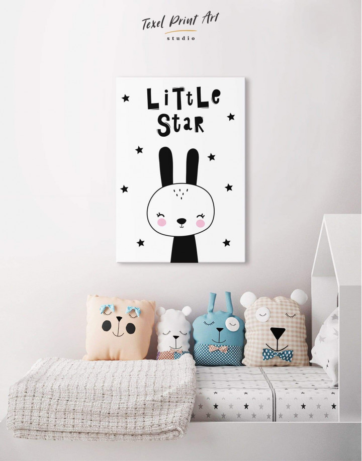Little Star Bunny Nursery Animal Canvas Wall Art - Image 4