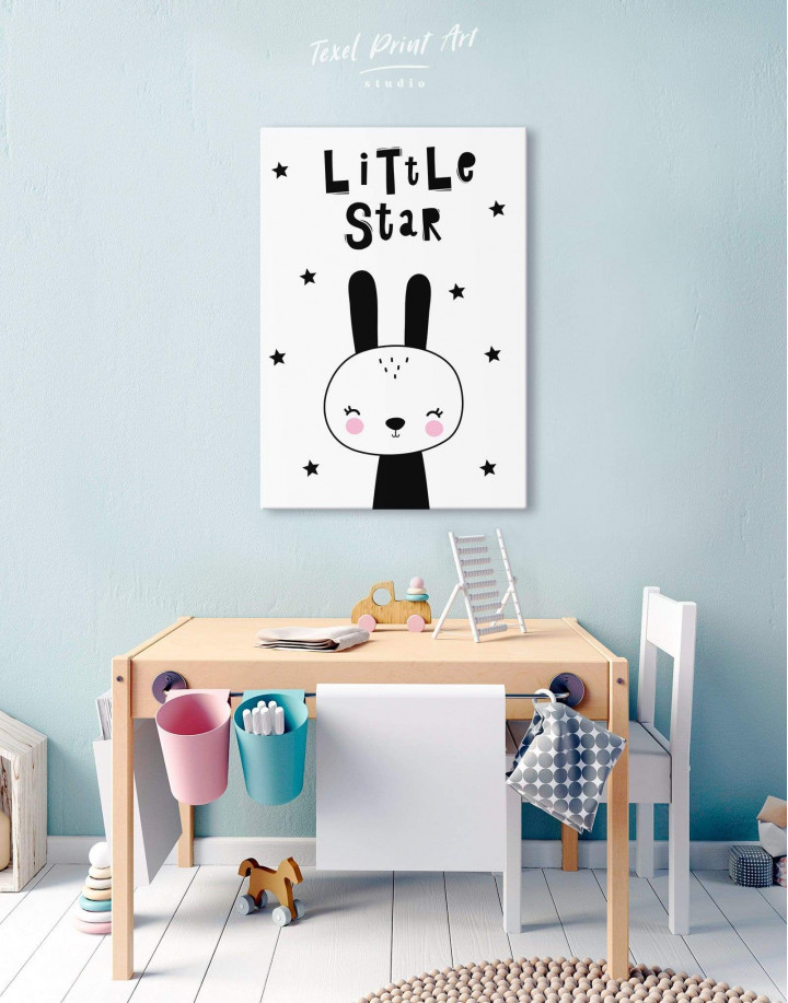 Little Star Bunny Nursery Animal Canvas Wall Art - Image 5