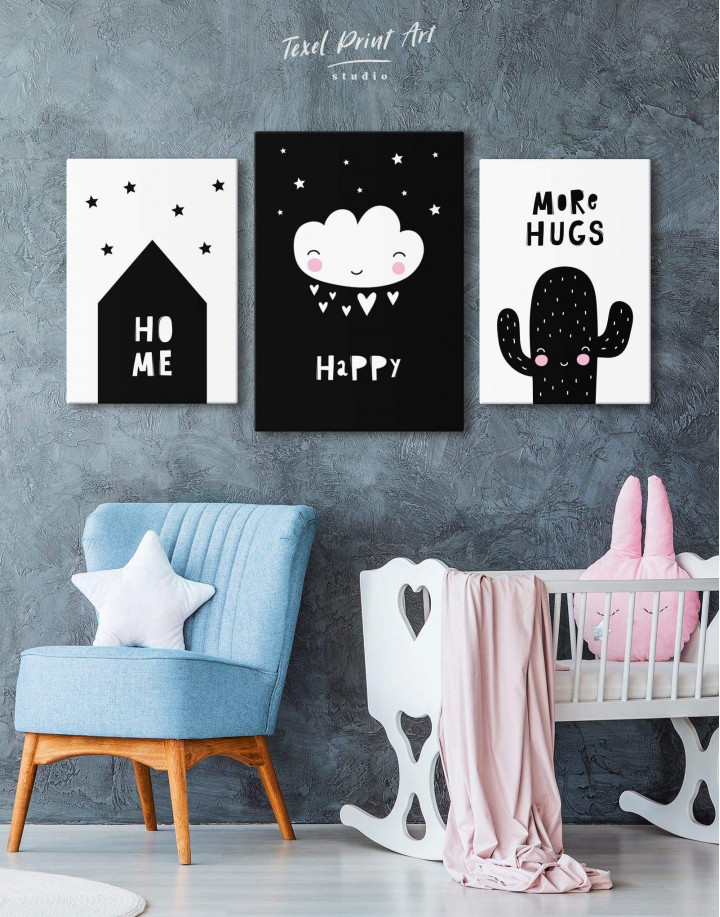 Happy Modern Nursery Canvas Wall Art - Image 3