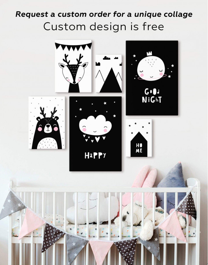 Happy Modern Nursery Canvas Wall Art - Image 2