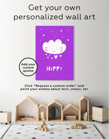 Happy Modern Nursery Canvas Wall Art - image 1