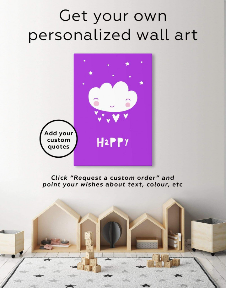 Happy Modern Nursery Canvas Wall Art - Image 1