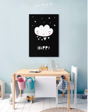 Happy Modern Nursery Canvas Wall Art