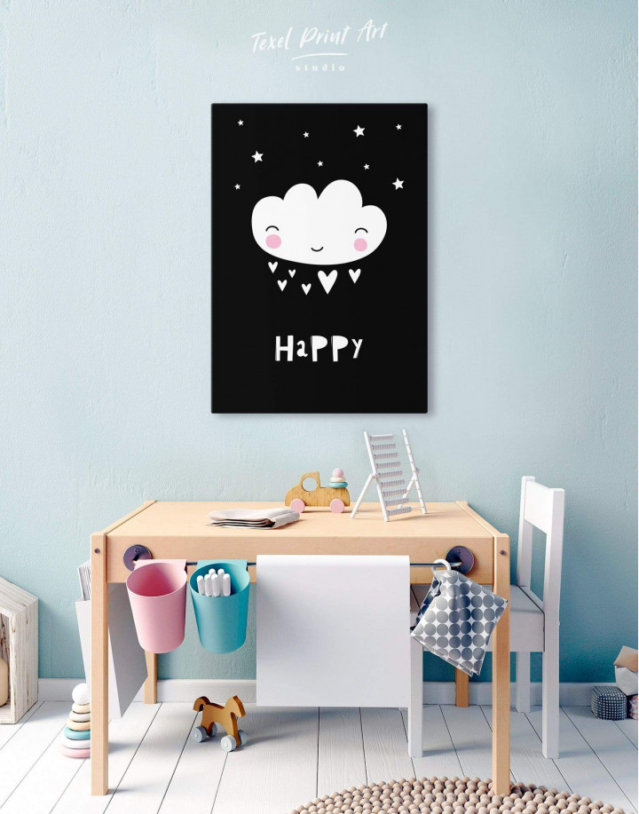 Happy Modern Nursery Canvas Wall Art - Image 0