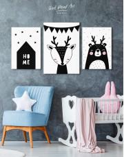 Deer Nursery Animal Canvas Wall Art - Image 3