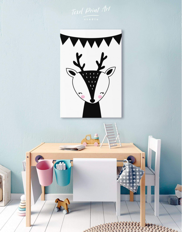 Deer Nursery Animal Canvas Wall Art - Image 0