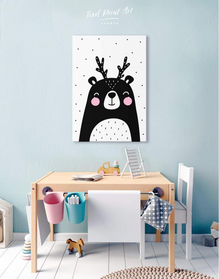 Black Bear Nursery Animal Canvas Wall Art