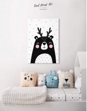 Black Bear Nursery Animal Canvas Wall Art - Image 3
