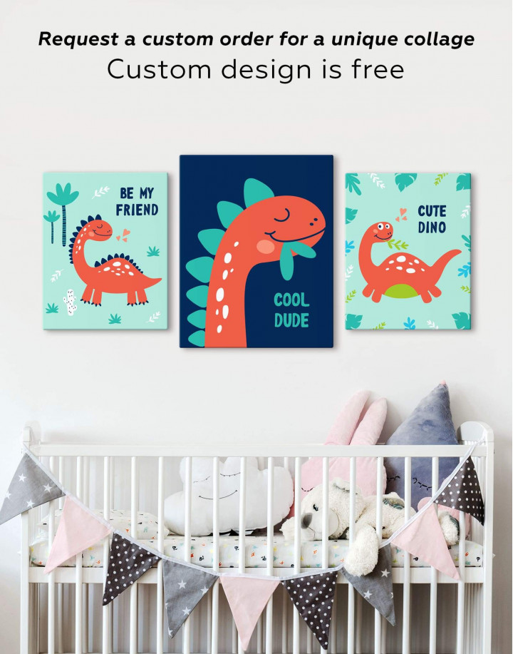 Cool Dude Kids Dinosaur Canvas Wall Art - Image 2