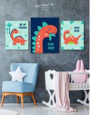 Cool Dude Kids Dinosaur Canvas Wall Art - Image 3