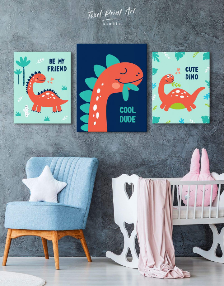 Cool Dude Kids Dinosaur Canvas Wall Art - Image 3
