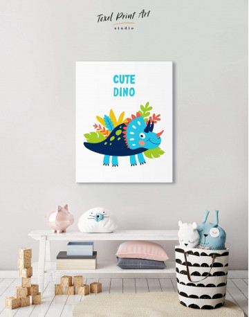 Cute Dino Nursery Canvas Wall Art