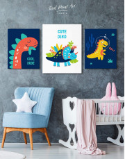 Cute Dino Nursery Canvas Wall Art - Image 3