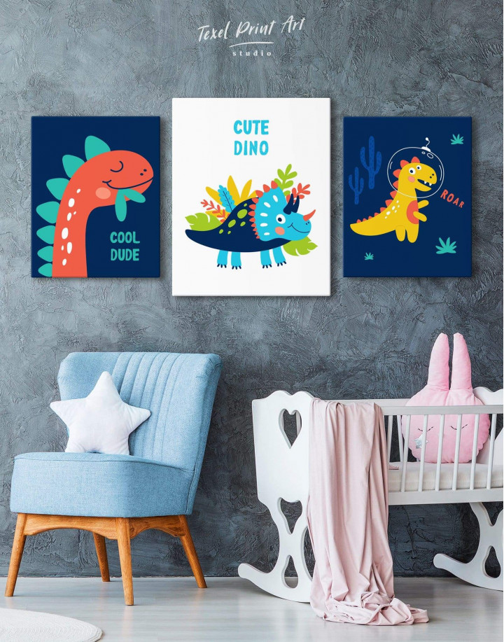 Cute Dino Nursery Canvas Wall Art - Image 3