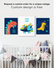 Cute Dino Nursery Canvas Wall Art - Image 2