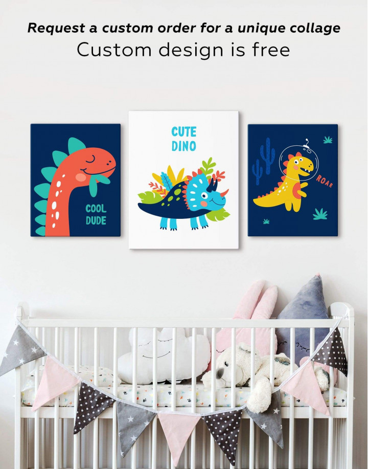 Cute Dino Nursery Canvas Wall Art - Image 2