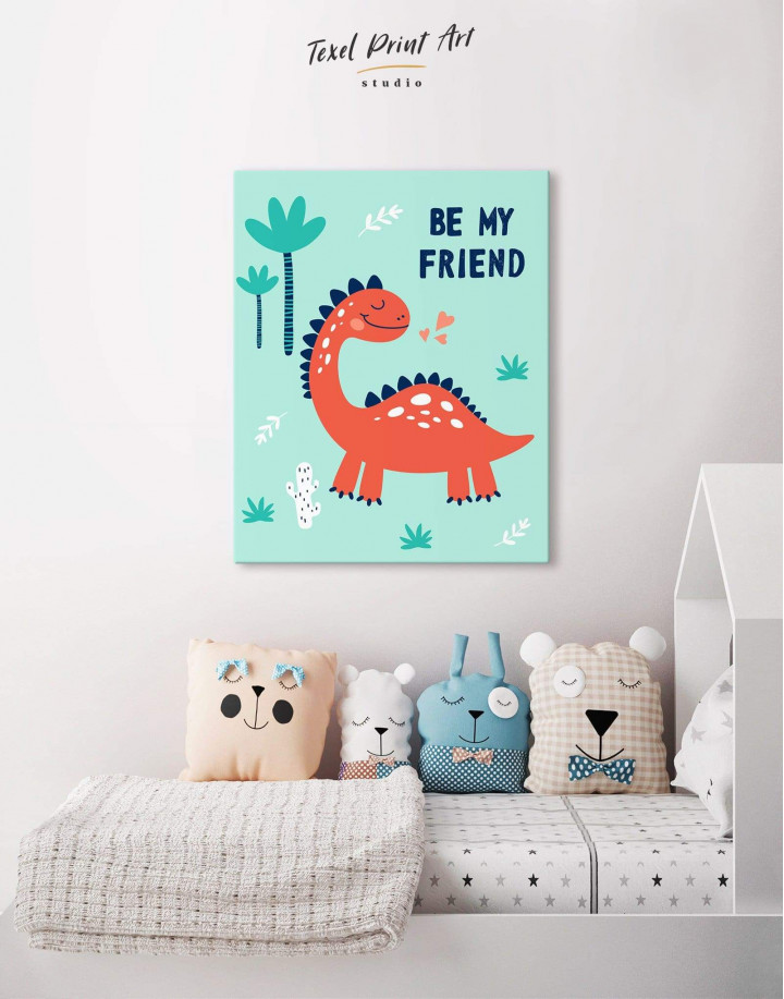 Be My Friend Dinosaur Nursery Canvas Wall Art - Image 4