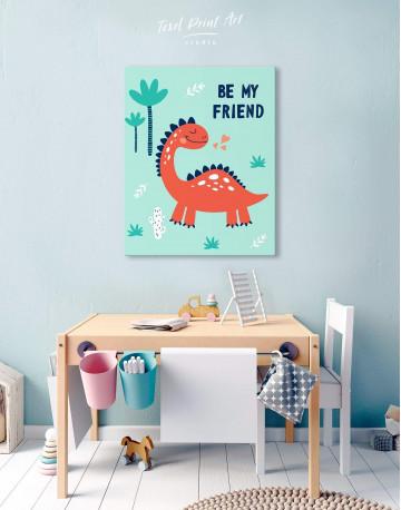 Be My Friend Dinosaur Nursery Canvas Wall Art - image 5