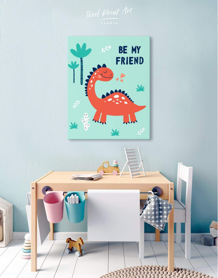 Be My Friend Dinosaur Nursery Canvas Wall Art - Image 5