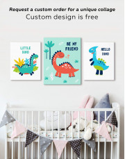 Be My Friend Dinosaur Nursery Canvas Wall Art - Image 2