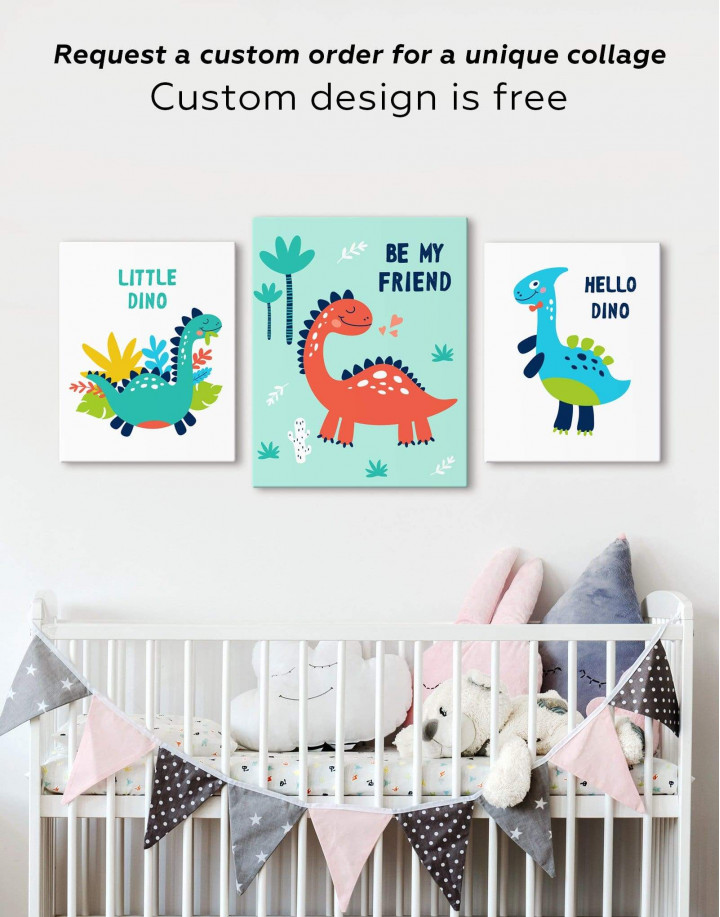 Be My Friend Dinosaur Nursery Canvas Wall Art - Image 2