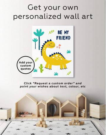 Be My Friend Dinosaur Nursery Canvas Wall Art - image 1