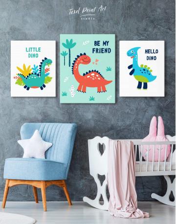 Be My Friend Dinosaur Nursery Canvas Wall Art - image 3