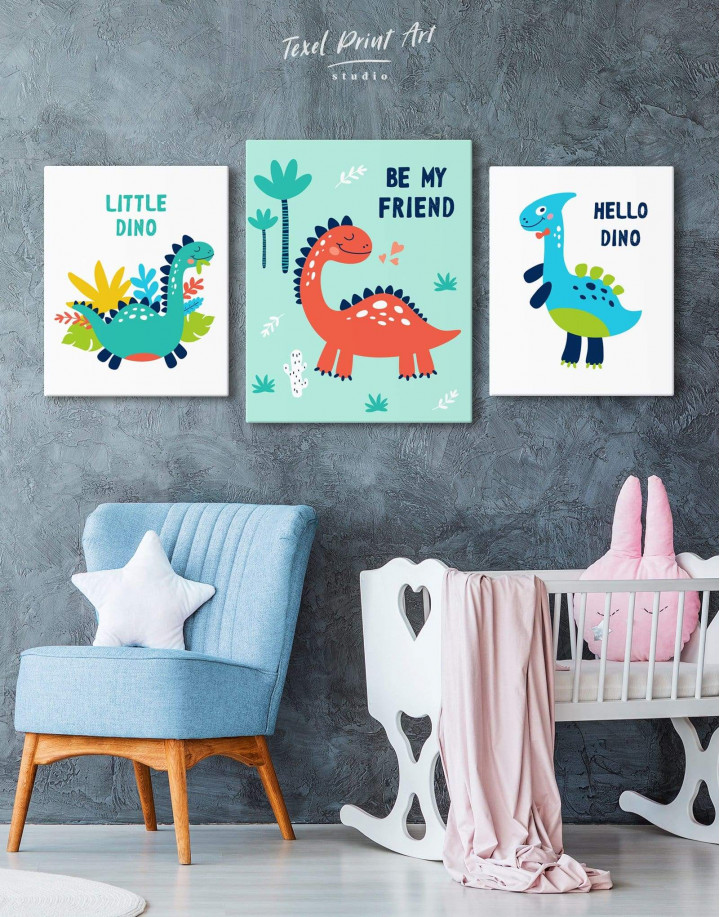 Be My Friend Dinosaur Nursery Canvas Wall Art - Image 3
