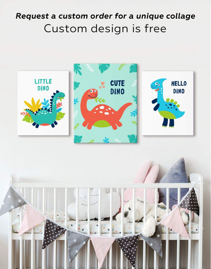 Cute Dinosaur Nursery Canvas Wall Art - Image 5