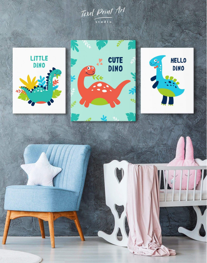 Cute Dinosaur Nursery Canvas Wall Art - Image 4