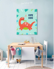 Cute Dinosaur Nursery Canvas Wall Art